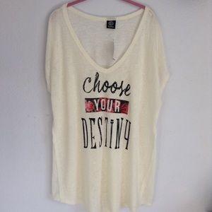 Bobeau 3x choose your destiny ivory t shirt